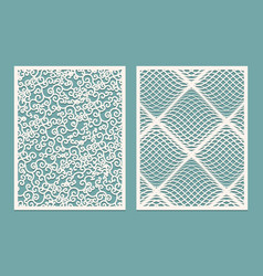 set of laser cut panels template patterns for vector image vector image