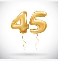 Golden number 45 forty five metallic balloon vector