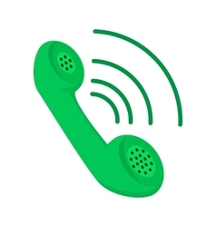 Green telephone receiver cartoon icon vector image