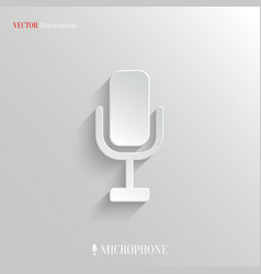 Microphone icon - white app button vector image vector image