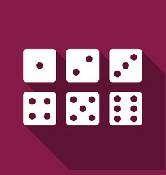 set of six dices flat icon with long shadow vector image