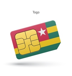 Togo mobile phone sim card with flag vector image vector image