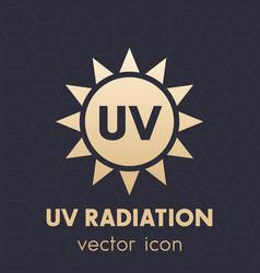 Uv radiation icon symbol on dark vector