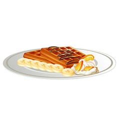 Waffle and banana on the plate vector