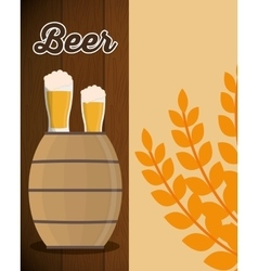 wooden barrel beer glass and wheats leaf vector image