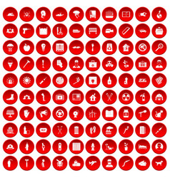 100 help icons set red vector