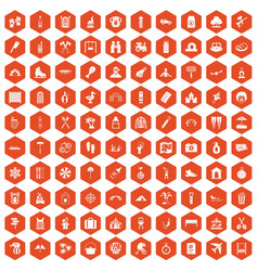 100 holidays family icons hexagon orange vector