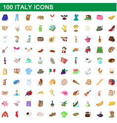 100 italy icons set cartoon style vector image