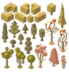 3d isometric autumn plants trees bushes vector image