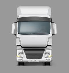 3d realistic cargo truck front view vector