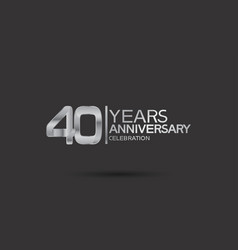 40 years anniversary logotype with silver color vector