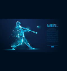 abstract baseball player low poly neon wire vector image