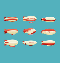 airships set retro zeppelin with red white vector image