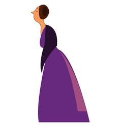an elegant lady wearing a long purple vintage vector image