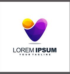 awesome letter v logo design vector image
