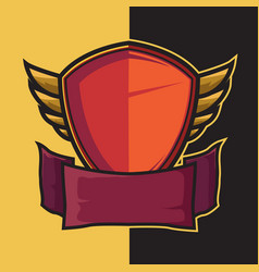 Badge winged shield for e-sport logo design vector