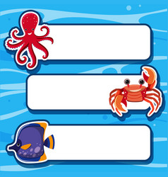 banner template with three types of sea animals vector image
