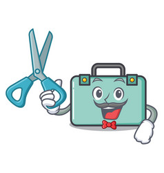 Barber suitcase character cartoon style vector