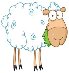 Barnyard sheep eating grass vector