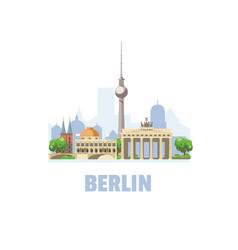 Berlin city skyline cityscape with famous vector