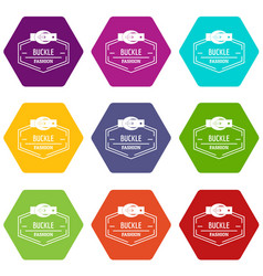 Buckle connect icons set 9 vector