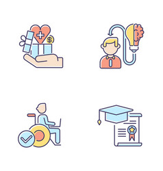 Business occupation rgb color icons set vector