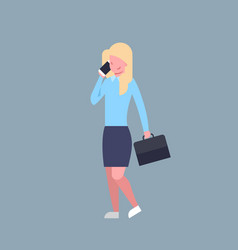 business woman talking on cell smart phone female vector image