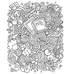 Cartoon funny doodles sketchy pizza vector