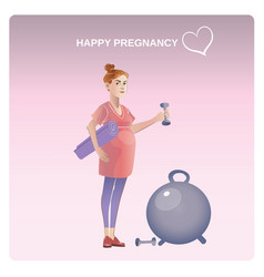Cartoon healthy pregnancy concept vector