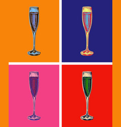 champagne glass hand drawing vector image