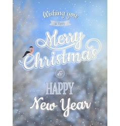Christmas greeting card - snowy branches EPS 10 vector image