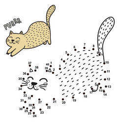 Connect the dots and draw a cute purring cat vector