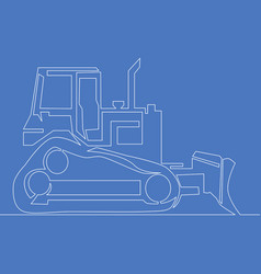 continuous line bulldozer construction machinery vector image
