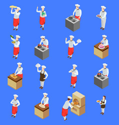 cook characters icon set vector image
