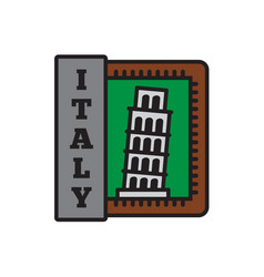 country badge collections pisa symbol of big vector image