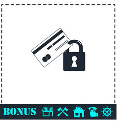 credit card security icon flat vector image