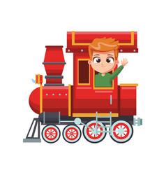 Cute boy in train cartoon vector