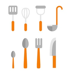 Cutlery Set Basic set of tableware isolated on vector