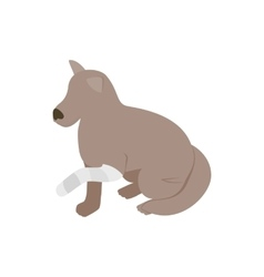 Dog with broken paw icon isometric 3d style vector