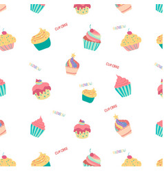Doodle hand drawn rainbow cute cup cake seamless vector