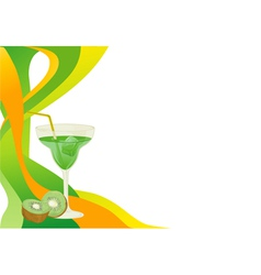 Drink card with kiwi vector