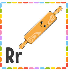English alphabet letter r - rolling pin abc vector