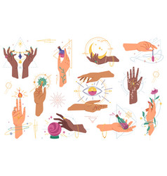 esoteric magic hands with witchcraft elements vector image