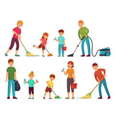 Family housework parents and kids clean up house vector