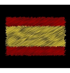 flag of Spain by dirty brush vector image