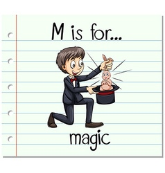 Flashcard alphabet M is for magic vector