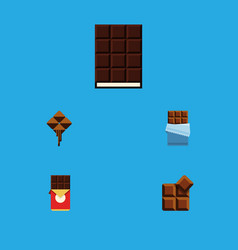 Flat icon chocolate set of cocoa chocolate bar vector