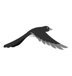 Flying away magpie icon flat style vector