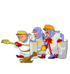 funny cartoon knights vector image