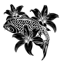 Giant carp fish silhouette vector